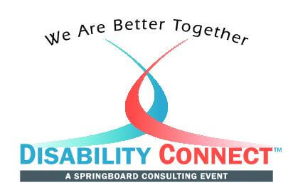 Springboard's Disability Connect Logo w/ tagline We Are Better Together