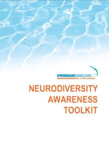 Toolkit Cover White Background with Blue Waves image on top below that Springboard Consulting Logo and below that the words Neurodiversity Awareness Toolkit in orange color