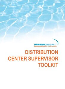 Toolkit Cover White Background with Blue Waves image on top below that Springboard Consulting Logo and below that the words Brand Manager Awareness Toolkit in orange color