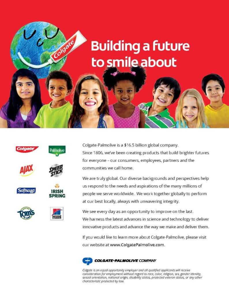 Colgate-Palmolive Ad: Building a future to smile about.