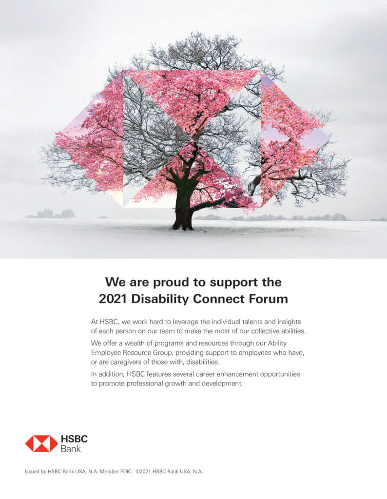 HSBC AD: We are proud to support the 2021 Disability Connect Forum